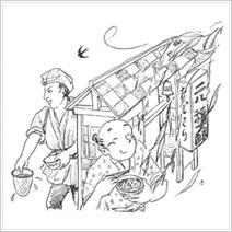 イラスト34.「親ばかちゃんりん、そば屋の風鈴」