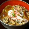 レシピ画像:桜肉と地滑子の味噌煮込み蕎麦