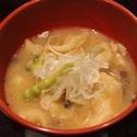 レシピ画像:根曲り竹のすいとん汁