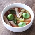 レシピ画像:トマトとセロリ、芽キャベツのペンネスープ