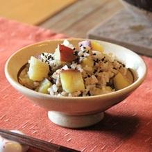 レシピ画像:そば米とサツマイモごはん