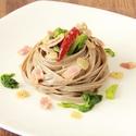 レシピ画像:菜の花とベーコンのオイルパスタ