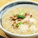 レシピ画像:そば米鶏団子の味噌白湯そば