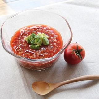 レシピ画像:そば米の冷製トマトスープ